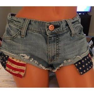 Denim Jean Cotton Stretch shorts flag pockets sz 6